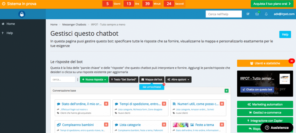 Chatbot builder italiano