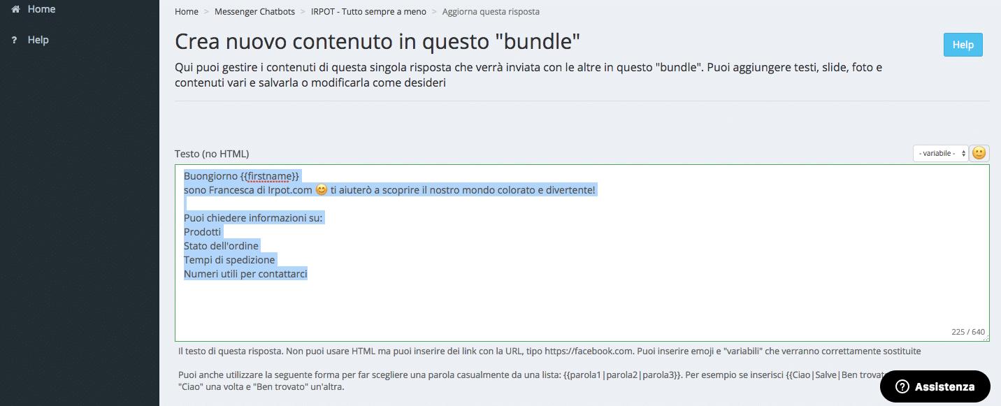 impostare un bundle nella chatbot